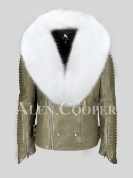 Olive real lamb skin biker jacket with snow white wide fox fur collar for men