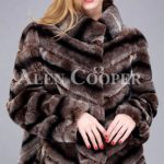 Over sized high neck real rabbit fur winter outerwear for women