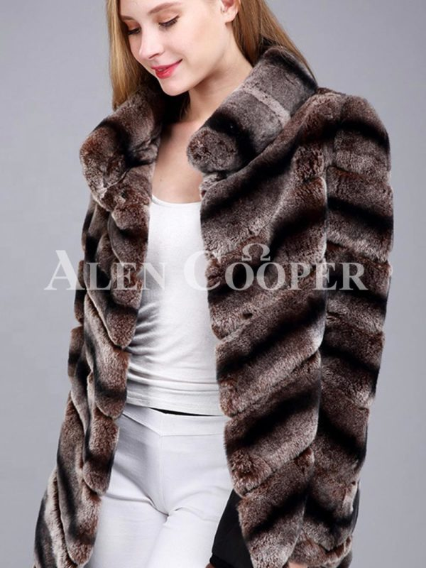 Over sized high neck real rabbit fur winter outerwear for women coffee