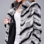Over sized high neck real rabbit fur winter outerwear for women in grey