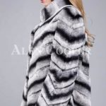 Over sized high neck real rabbit fur winter outerwear for women in grey side view