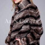 Over sized high neck real rabbit fur winter outerwear for women side view