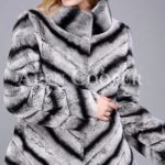 Over sized high neck real rabbit fur winter outerwear for women's in grey