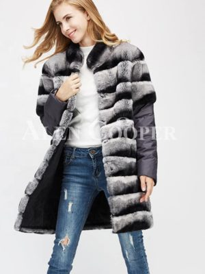 Poly ester shell long real fur warm winter coat for women