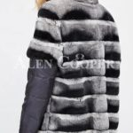Poly ester shell long real fur warm winter coat for women back side view