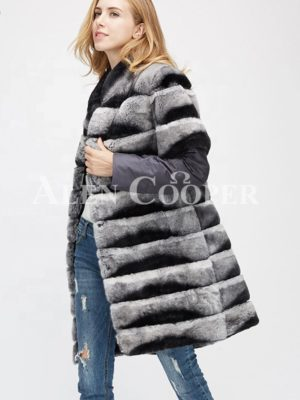 Poly ester shell long real fur warm winter coat for women side view