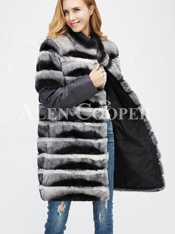 Poly ester shell long real fur warm winter coat for women side views
