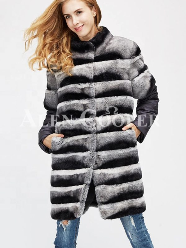 Poly ester shell long real fur warm winter coat for women's