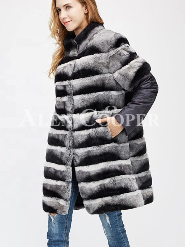 Poly ester shell long real fur warm winter coat for womens side view