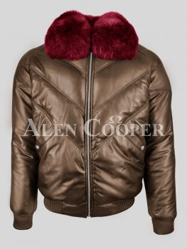 Quality real leather coffee v bomber jacket with wine fox fur collar