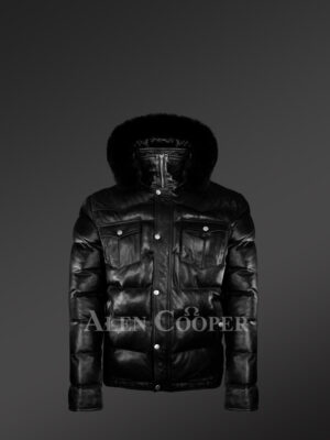 Real Leather Puffy Jacket With Detachable Fur Hood new