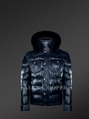 Real fur hood real leather winter coat for men in navy new