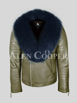 Real leather navy fox fur collar olive winter biker jacket for men