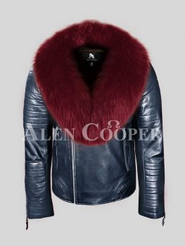 Real leather navy winter biker jacket with wine fur collar for men