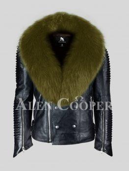 Real leather super warm black winter biker jacket for men with olive fox fur collar