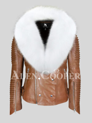 Real leather tan biker jacket for men with snow white wide fox fur collar