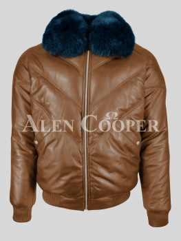 Rich tan vintage v bomber leather jacket with real fox fur collar in navy