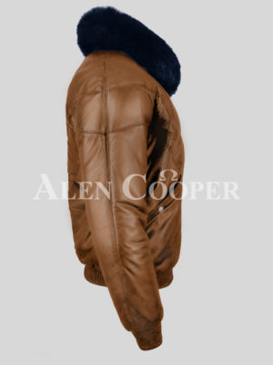 Rich tan vintage v bomber leather jacket with real fox fur collar in navy side view