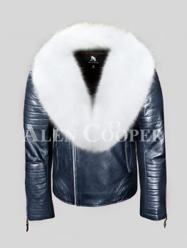 SUPER EXCITING MEN'S REAL LEATHER NAVY BIKER JACKET WITH WHITE FOX FUR COLLAR