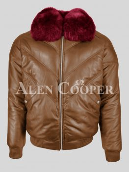 Solid men's tan leather v bomber jacket with rich wine fur crystal collar
