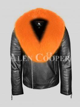 Stunning black leather biker jacket with orange fox fur collar