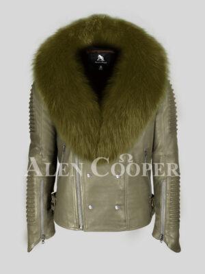 Stylish and super warm olive sheepskin biker jacket with olive wide fox fur collar for men