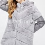 Stylish real fur coat with detachable hood and polyester sleeves Grey