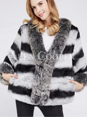 Super stylish bi-color real fur warm winter coat for womens