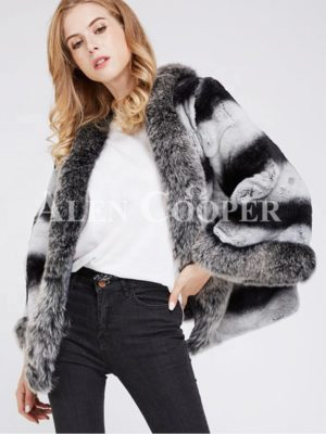 Super stylish bi-color real fur warm winter coat for women's