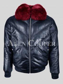 Super stylish navy v bomber jacket with wine fur collar for men
