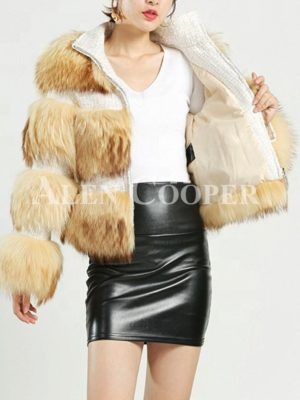 Super stylish real raccoon fur coat with prominent leather joints
