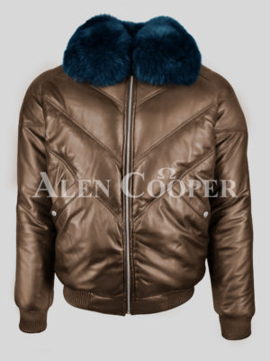 Super stylish vintage coffee v bomber jacket with detachable Navy fur collar