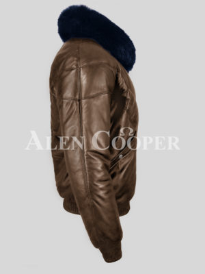 Super stylish vintage coffee v bomber jacket with detachable Navy fur collar side view