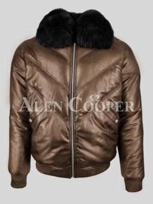 Super warm real leather men's v bomber winter jacket with black fur collar New