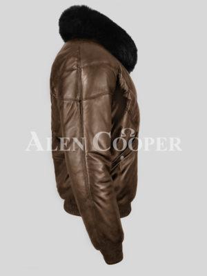 Super warm real leather men's v bomber winter jacket with black fur collar New side