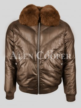 Timeless iconic real leather coffee v bomber jacket for men with tan fur collar