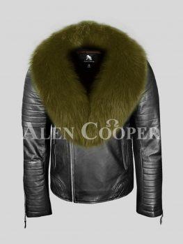 Unique black leather biker jacket with olive fox fur collar