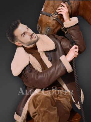Vintage double face shearling warm winter stylish coat for men