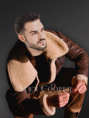 Vintage double face shearling warm winter stylish coat for mens