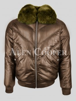 Vintage pure leather quality v-bomber jacket with detachable real fox fur collar