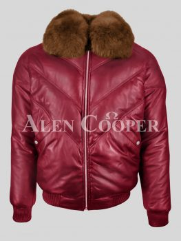 Vintage real leather v bomber jacket in wine for men with crystal fox fur collar in tan
