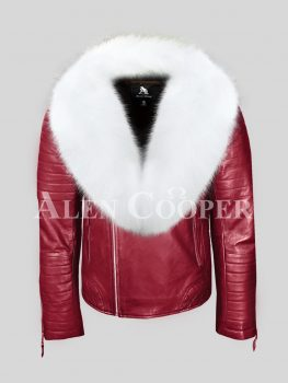 Wine real leather biker jacket with white fox fur collar for men