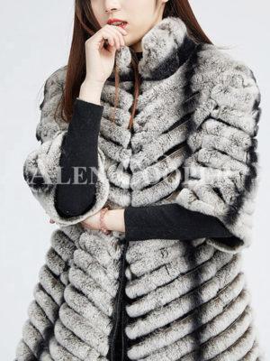 Women's bi-color real fur luxury warm winter coat for women