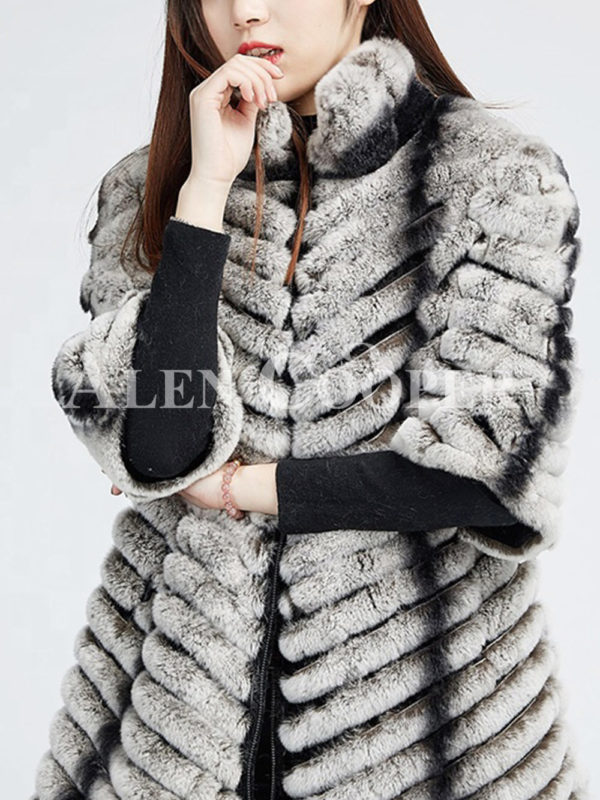 Women's bi-color real fur luxury warm winter coat for women