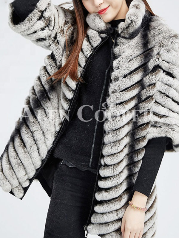 Women's bi-color real fur luxury warm winter coat for women side view