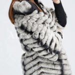 Women's bi-color real fur luxury warm winter coat for women sideview