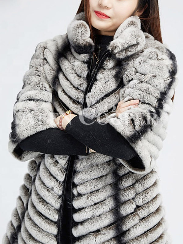 Women's bi-color real fur luxury warm winter coat for womens