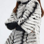 Women's bi-color real fur luxury warm winter coat for women's