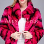 Women's colorful short real fur coat winter outerwear with high neck collar