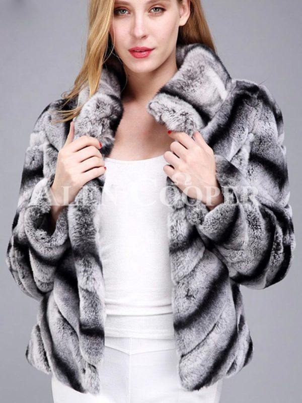 Women's colorful short real fur coat winter outerwear with high neck collar grey